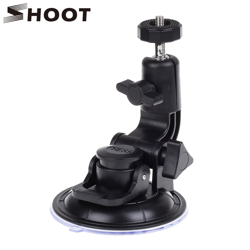 SHOOT Universal 9CM Car Suction Cup With Tripod Adapter Screw For Gopro Hero 4 3+ 3 2 Xiaomi Yi SJ4000 SJ5000 Go pro Accessories