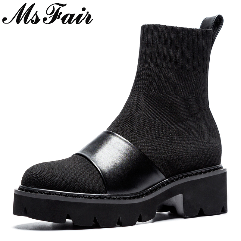 MSFAIR Round Toe Thick Bottom Women Boot Casual Fashion Med Heel Ankle Boots Women Shoes Winter Black Stretch Fabric Boots Women basic 2018 women thick heel ankle boots black pu fleeces round toe work shoe red heel winter spring lady super high heel boots