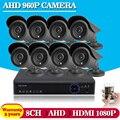 8CH DVR Kit 8PCS 960P CCTV Camera 2500TVL 1.3MP IR 35M Outdoor Security Camera Home Surveillance System P2P Onvif