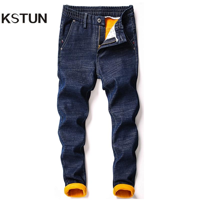 KSTUN Men's Jeans Winter Thick Warmer Fleece Heat Insulated Elastic Waist Slim Fitness Casual Denim Pants Students Boys Trousers