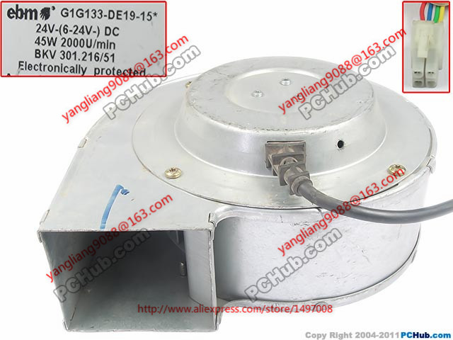 Free Shipping For ebmpapst G1G133-DE19-15 DC 24V 45W 4-wire  180x170x82mm Server Blower Cooling fan free shipping 133 disc centrifugal fan ywf f2s 133 220v 32w plastic impeller