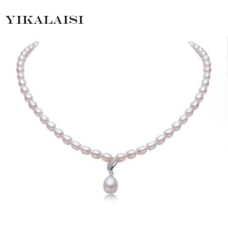 YIKALAISI 2017 100% natural freshwater pearl necklace 6-7mm pearl 925 sterling silver jewelry for women best gifts yikalaisi 2017 fine natural freshwater pearl necklace 925 sterling silver jewelry 8 9mm real pearl necklace gifts for women