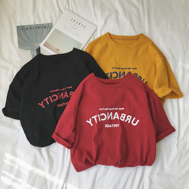 SUPEYA Women Letter Print Short Sleeve Tee Shirt Crew Neck Tops Pullover Sweatshirt