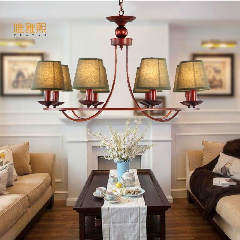 Modern American Vintage Chandelier Bedroom Kitchen Living Room Fabric Lampshade Ceiling Home Lighting Fixture
