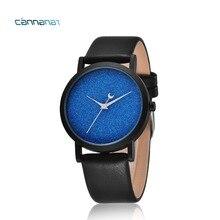 Женское платье часы матовый циферблат синий полумесяц стильный минимализм кварцевые часы Роскошные брендовые кожаные женские Для мужчин пару часов