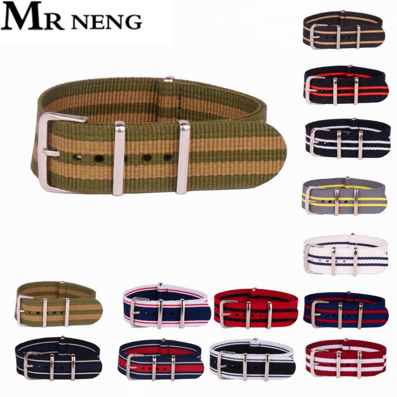 MR NENG Brand Nato Woven Fiber watchband 20mm Green Gold Stripe Nylon Watch Bracelet Straps Wristwatch Band Buckle Cheap fabric survival nylon bracelet brown