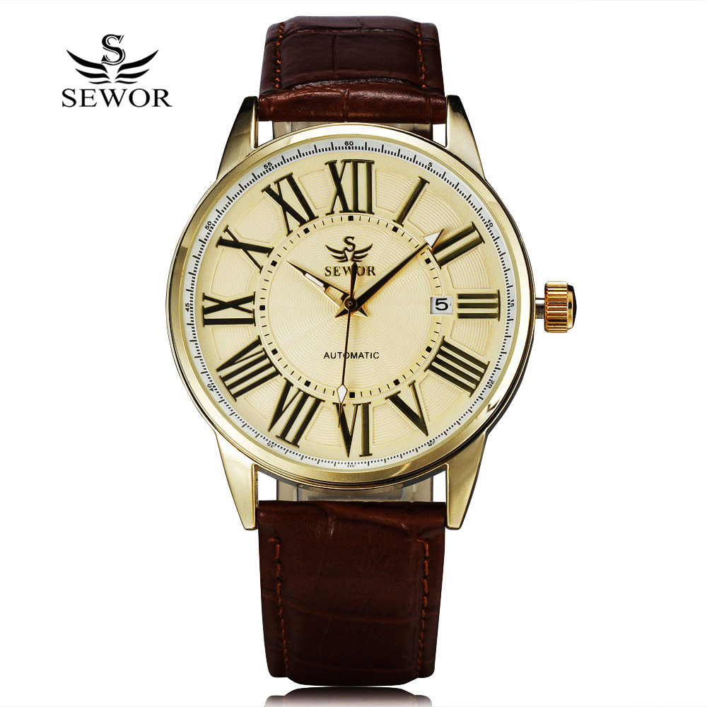 2018 New Fashion Sewor Brand Design Business Calendar Clock Men Male Automatic Mechanical Self Wind Leather Wrist Dress Watch fashion fngeen brand simple gridding texture dial automatic mechanical men business wrist watch calender display clock 6608g