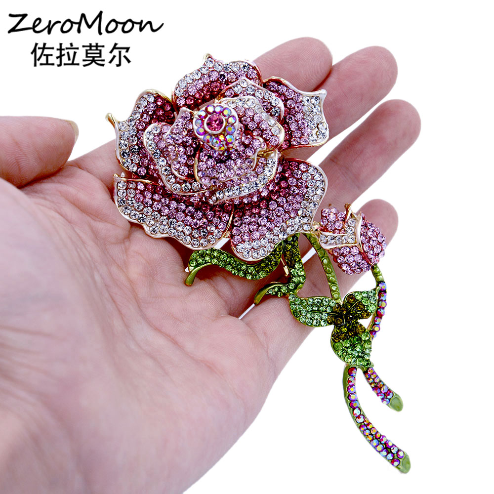 Crystal Rhinestone Huge Size Rose Brooch Metal Leaves Flower Pin Women Garment Fashion Jewelry Accessory Gift charming crystal gold rose brooch