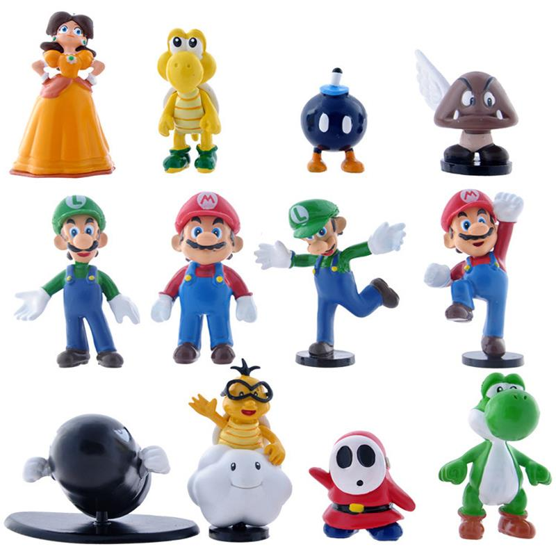 12pcs/set Super Mario Bros Action Figures Mini Super Mario Luigi Mario Daisy Yoshi PVC Action Figures Toys Collection Model Toy