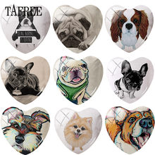 TAFREE Heart Shape DIY Glass Cabohcon Animal Pet Dog Pug Puppy Art Picture Demo Flat Back Making Findings(China)