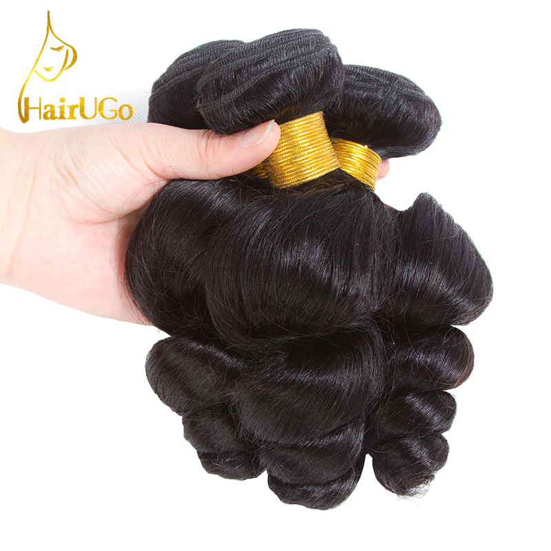 HairUGo Hair pre-colored Peruvian Hair Loose Wave 3 Bundles #1b Color Human Hair Non Remy Hair Weaving Free Shipping