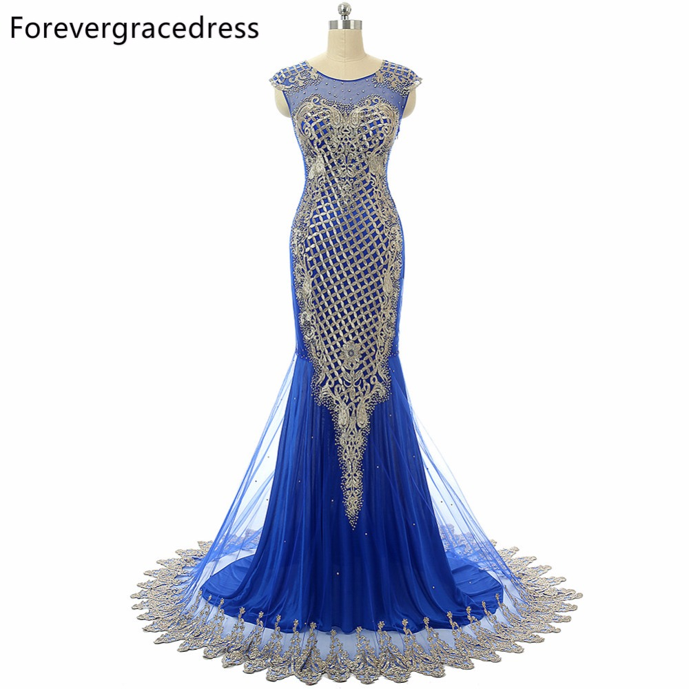 Forevergracedress 2018 Unique Luxury Blue Prom Dress Mermaid Cap Sleeves Sheer Top Neck Beaded Long Formal Party Gown Plus Size