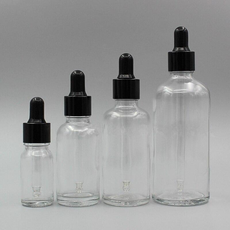 Bouteilles d'huile essentielle de chapeau noir en verre clair de 5ml ~ 100ml avec des bouteilles de compte-gouttes bouteilles rechargeables bouteilles d'emballage de maquillage