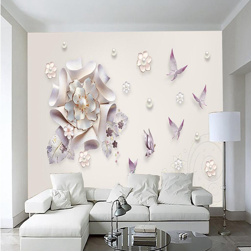 Custom 3D Wall Murals Photo Wallpaper Modern Stereoscopic Wall Paper Jewelry Floral Butterfly Backdrop Wall Stickers Wallpapers custom floral wallpaper 3d stereoscopic
