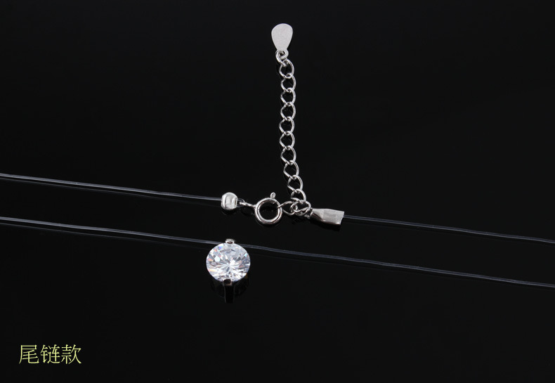New mermaid tear necklace 925silver Meteorite pendant transparent fishing line Invisible women's necklace Jewelry clavicle chain