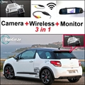 3 in1 Especial Cámara de Visión Trasera + Receptor Inalámbrico + Espejo Monitor de Copia de seguridad de Sistema de Aparcamiento Para Citroen DS3 DS 3 2009 ~ 2015