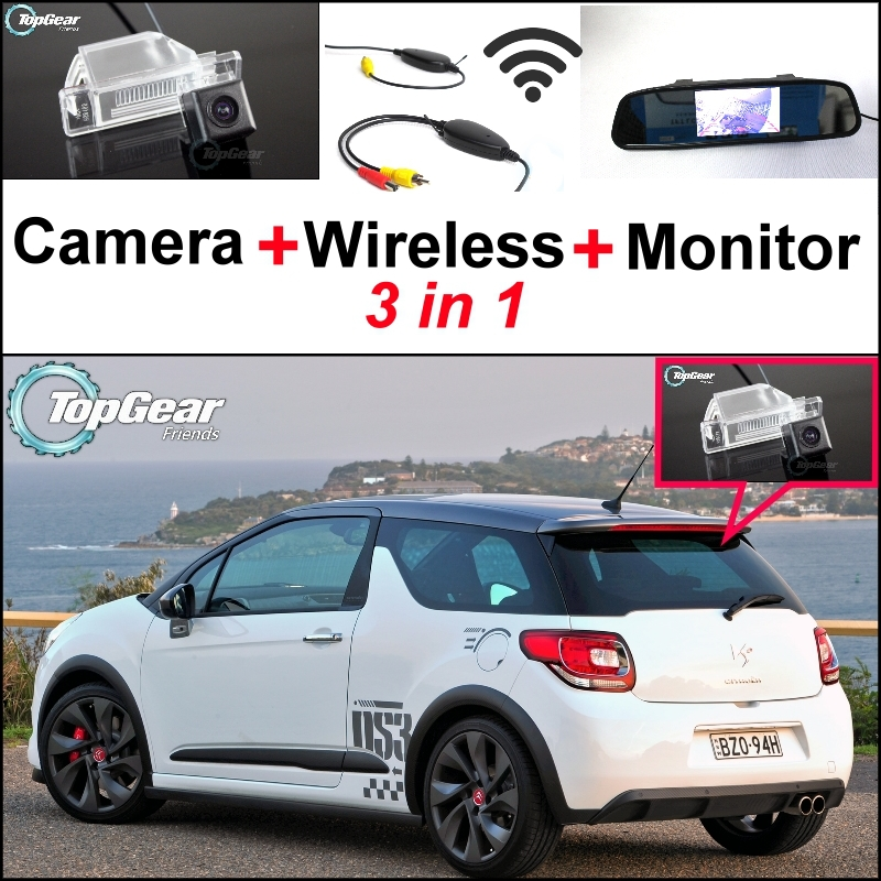 3 in1 Special Rear View Camera + Wireless Receiver + Mirror Monitor Back Up Parking System For Citroen DS3 DS 3 2009~2015 wireless receiver mirror monitor diy back up parking system for toyota sportsvan 3 in1 special rear view camera