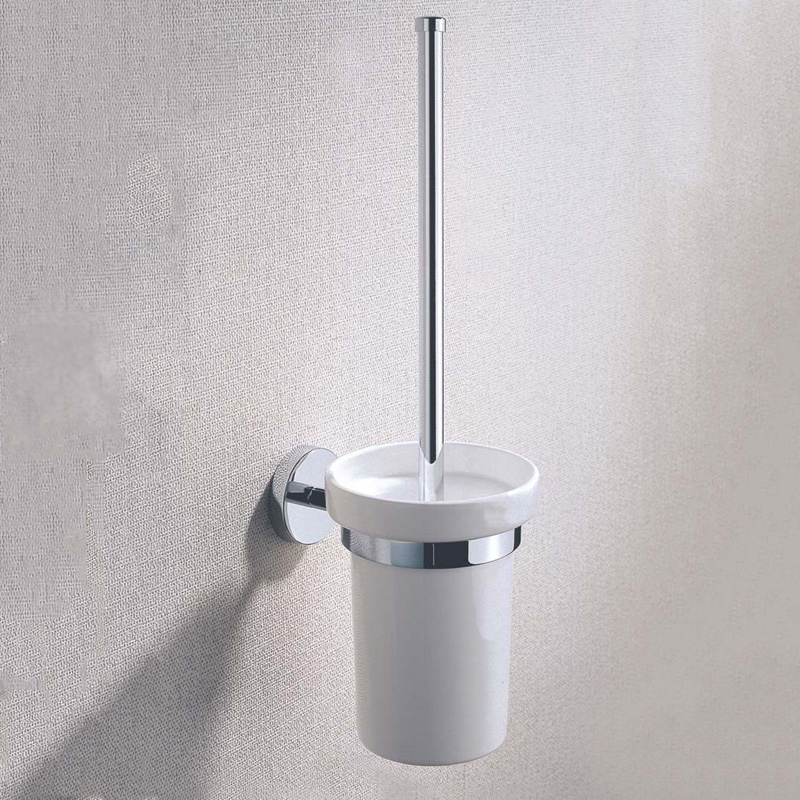 Chrome Plated Brass Toilet Brush Holders Wall Mounted Luxury Wc Brush Head Ceramic Cup Holder