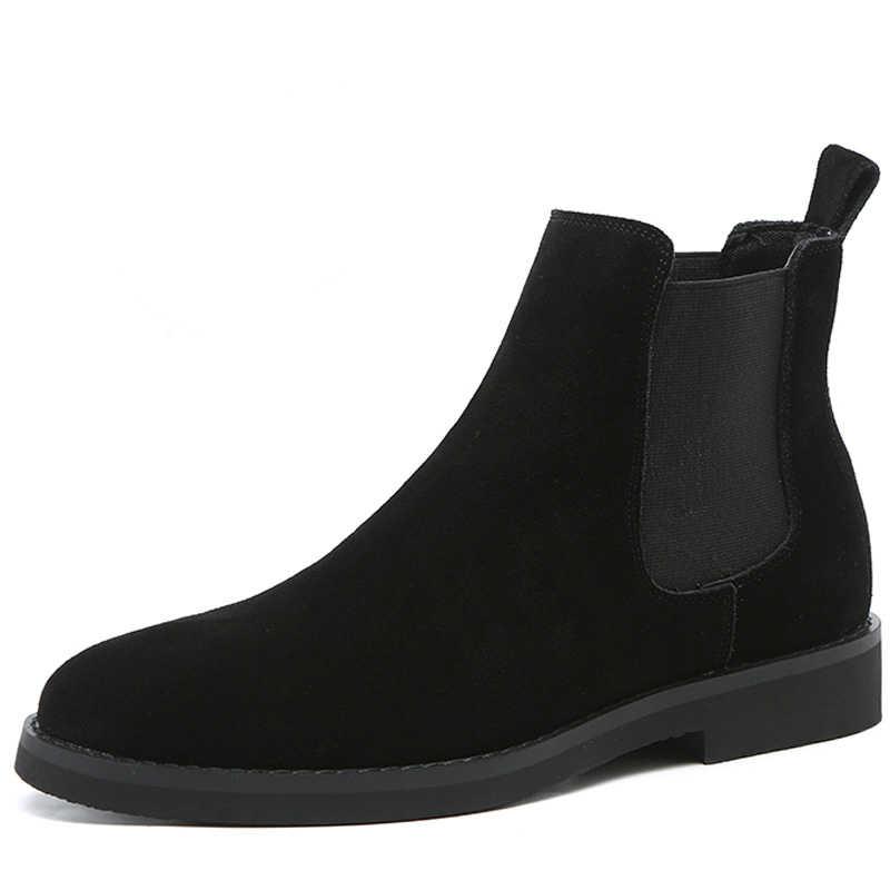 Italiaanse ontwerp mannen casual vintage koe lederen schoenen wees teen ademend chelsea laarzen slip op lente herfst enkellaars sapato