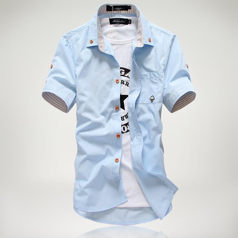 2018 Καθημερινά πουκάμισα με κοντό μανίκι νέων ατόμων, πουκάμισο φόρεμα, μικρά μανίκια με κορδόνι κεντημένο αρσενικό πουκάμισο Δωρεάν αποστολή