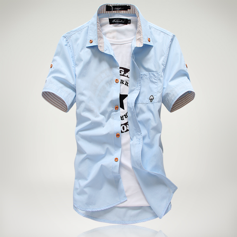 2019 New Arrived Men's Casual Short Sleeve Shirts,Dress Shirt,small Mushroom Embroidery Stripe Bordered Male Shirt Free Shipping