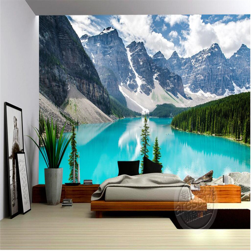 Mural Wallpaper Home Decor Background Wallpaper Photography Canada Natural Landscape Snowy Lakes Hotel Bathroom Large Mural