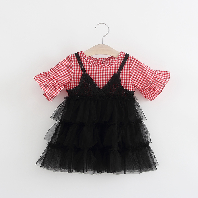Summer Baby Girls Short Sleeve Plaid Cotton Patchwork Mesh Ball Gown Dress Infant Kids Party Dresses