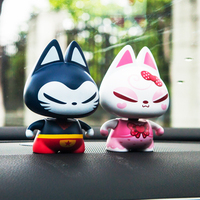 Car Ornaments Shaking Head Lucky Cat Toys Auto Dashboard Decoration Automobile Seat Interior Decor Home Furnishing