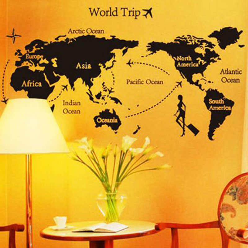 New Black World Map Vinyl Wall Stickers For Kids Rooms Wall Art ...