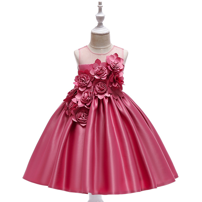 Elegant Rose Fower Girls Dress Kids Princess Birthday Applique Prom Designs Ball Gown Fashion Children Dresses For Girl Clothes (1)