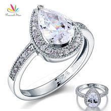Estrella del pavo real 2 Carat Pear Cut Creado Diamante Esterlina del Sólido 925 de Plata Anillo de Compromiso de Boda Joyería Nupcial CFR8097