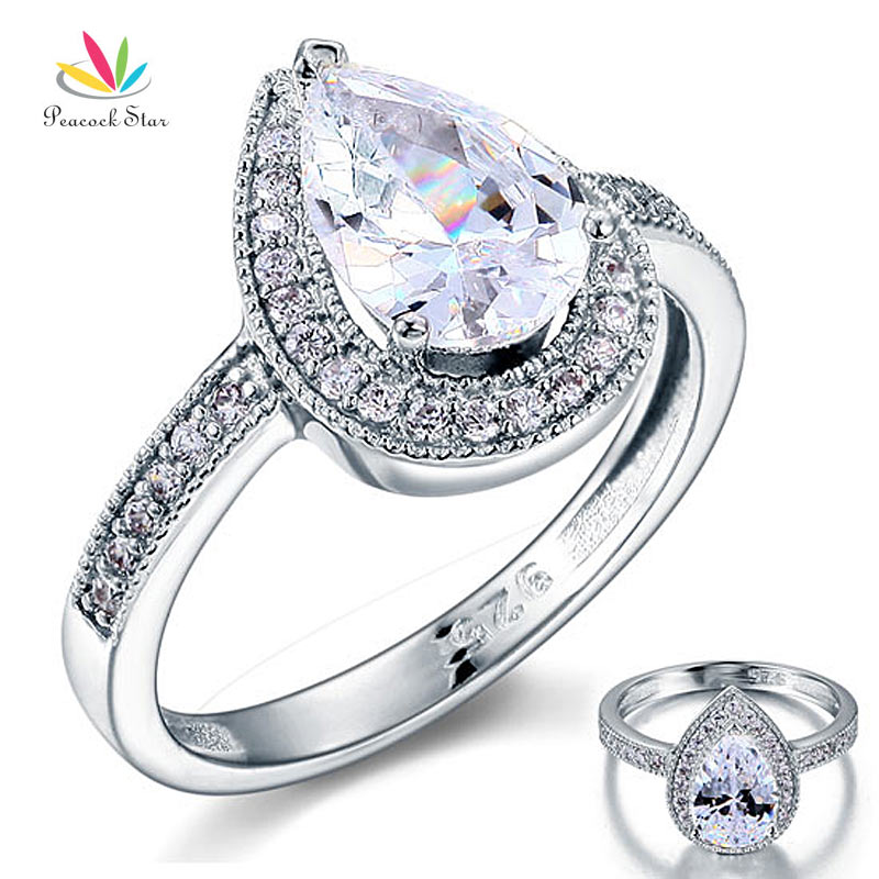 Peacock Star 2 Carat Pear Cut Sterling Solid 925 Silver Bridal Wedding Engagement Ring Jewelry CFR8097