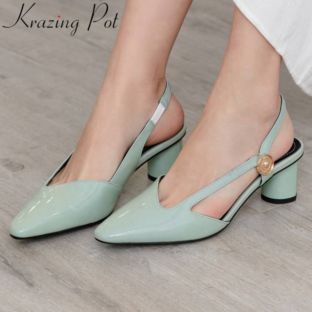 Krazing Pot natural leather new fashion med heels hollow sandals square toe slip on slingback plus