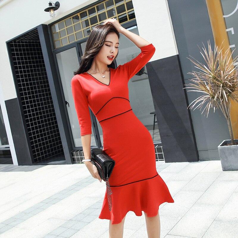 Sexy Bureau Sirène quarts Noir blanc Cou Vintage Robes 2019 Manches Moulante Trois Robe Femmes Printemps V Bandage rouge Partie Igf7yYvmb6