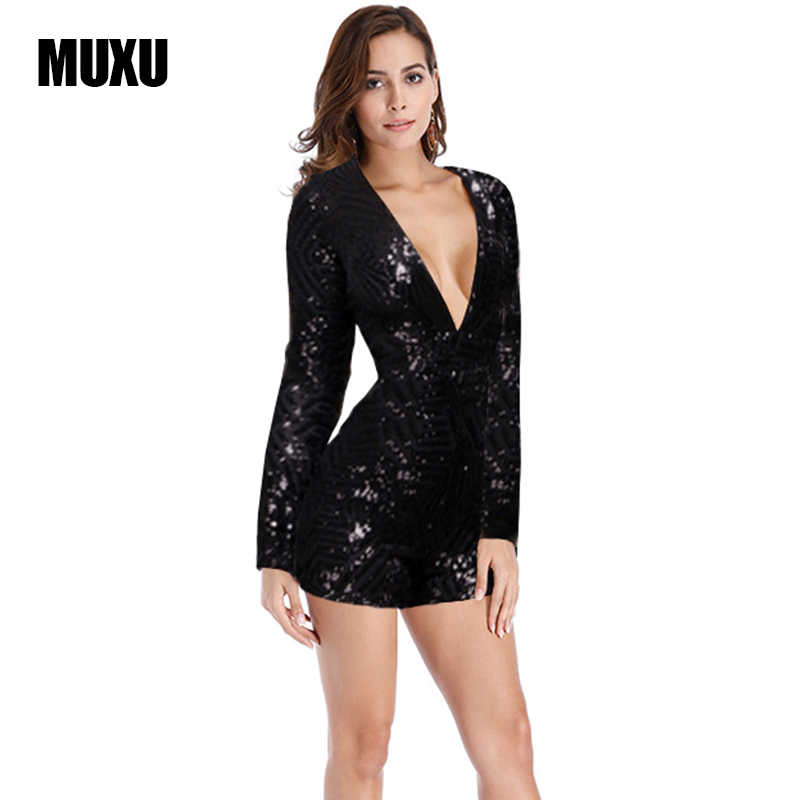 c4c1e89c2b80 MUXU fashion v neck jumpsuits and rompers for women BLACK sequin jumpsuit  body suit rompers womens