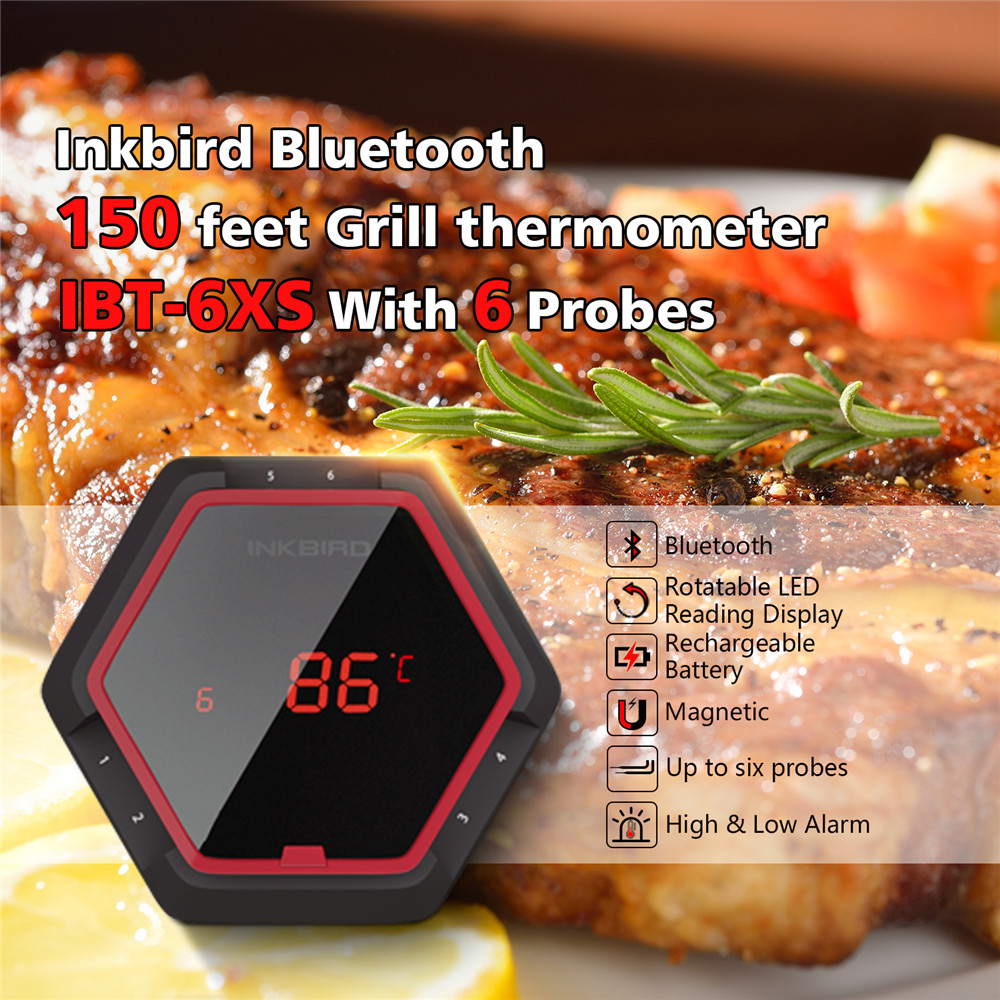 Inkbird IBT 6XS Red Digital Thermometer Bluetooth Wireless BBQ Thermometer With Six Probes Free APP and USB Rechargable Battery in Temperature Instruments from Tools