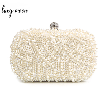 100% Hand made Luxury Pearl คลัทช์กระเป๋ากระเป๋าสตางค์ผู้หญิงเพชรสีขาวงานแต่งงานตอนเย็นสีดำ Bolsa Feminina