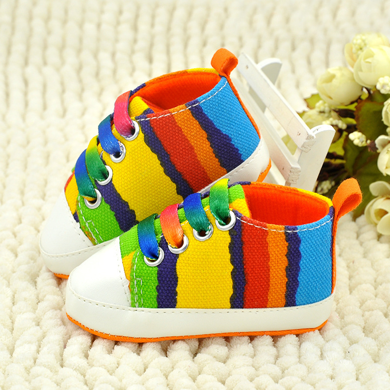 J.G Chen High quality baby shoes girls boys 2015 fashion rainbow canvas shoes soft prewalkers casual baby boy & girl shoes