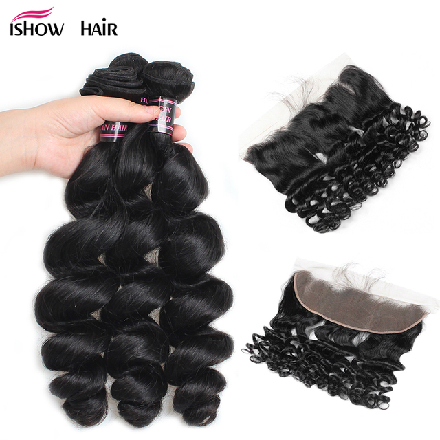 Ishow Brazilian Loose Wave Bundles With Frontal Non Remy Human Hair Bundles With Closure Ear To Ear Lace Frontal With Bundles