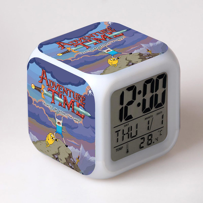 все цены на  Adventure Time with Finn and Jake Anime Figures LED Alarm Clock Colorful Flash Touch Light Kids Toys Christmas  онлайн