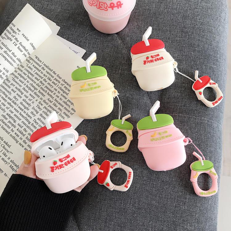 3D Cute BINGGRAE Banana Strawberry Yogurt Milk Bottle Earphone Cases For Apple Airpods 1 2 Silicone Protective Headphones Cover