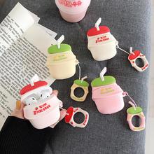 3D Leuke Binggrae Banaan Aardbei Yoghurt Melk Fles Oortelefoon Cases Voor Apple Airpods 1 2 Siliconen Beschermende Hoofdtelefoon Cover