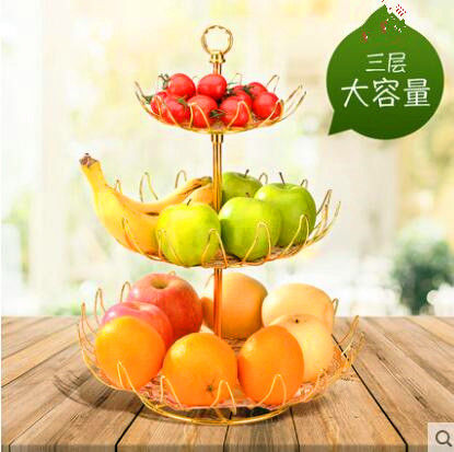 Us 16 7 3 Tier Metal Iron Fruit Storage Basket Golden Countertop Stand Multifunctional Decorative Bowl Holder In