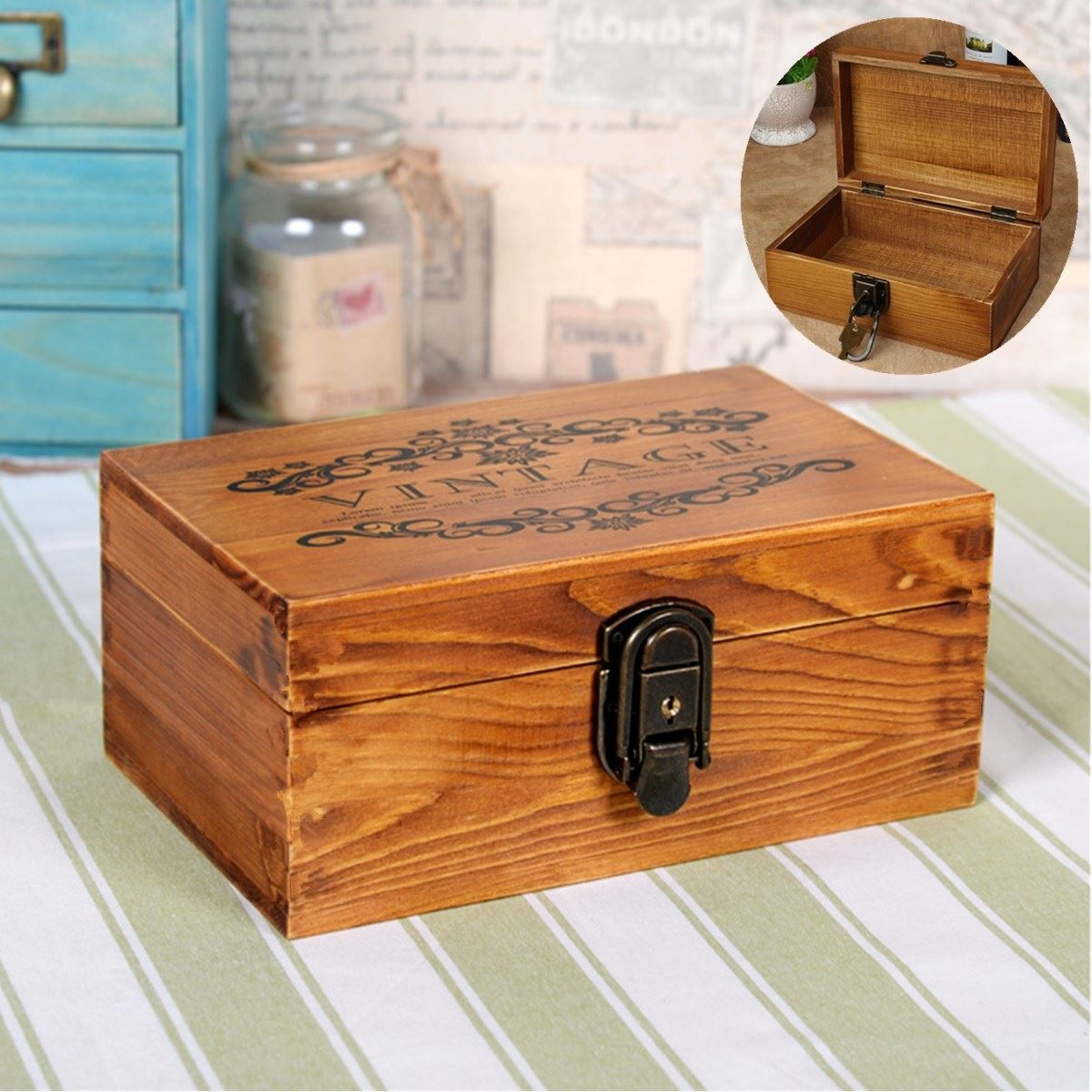 Retro Antique Vintage Wood Key Locker Jewelry Wooden Storage Box Organizer With 2 Keys Decorative Gift Boxes Case 221410cm In Packaging Display