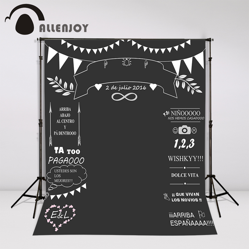Allenjoy Custom wedding blackboard Name Date photocall photography photo booth background photo chalk backdrop Invite signature