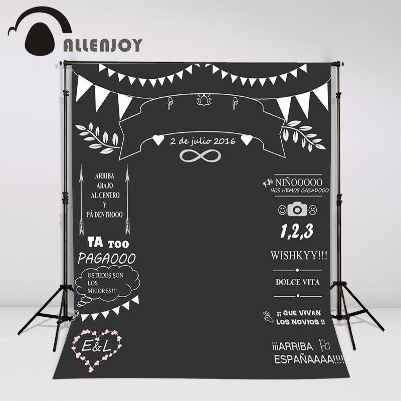 Allenjoy Custom wedding blackboard Name Date photocall photography photo booth background photo chalk backdrop Invite signature