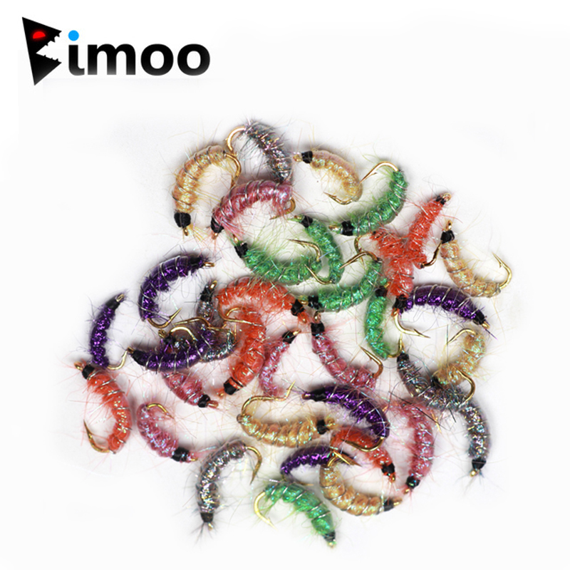 Bimoo 24PCS Size #10 #12 #14 Multiple Color Trout Fishing Flies Scud Shrimps Scud Cezch Fly Fishing Fly Nymphs Рыбная ловля