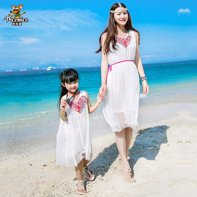 New 2018 Summer mother daughter dresses Family Matching clothes Solid Dress Family Holiday ...