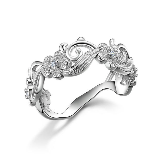 Solid 925 Sterling Silver Classical Wedding Ring For Women 4 Flowers Design Fashionable Jewelry Free Shipping From USA