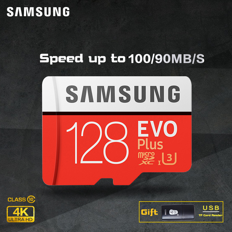SAMSUNG Micro SD card Memory Card EVO+ Plus 256GB 128GB 64GB 32GB 16G Class10 TF Card C10 sim card 100MB/S SDHC/SDXC UHS-I128gb samsung micro sd card 128gb 64gb 32gb 100mb s memory card class10 u3 u1 flash tf microsd card for phone with mini sdhc sdxc